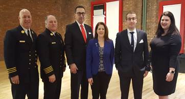 (L to R): FDNY/DAC Mike Gala, FDNY/AC Roger Sakowich, FDNY Fire Commissioner Daniel A. Nigro, FSDA President Gina Bertucelli, SFPE President Robert Accosta and FDNY Fire Museum Associate Alyssa Borger